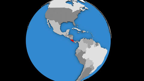 Zooming in on Costa Rica on political globe Animation
