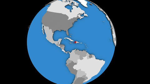 Zooming in on Haiti on political globe Animation