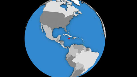 Zooming in on Jamaica on political globe Animation