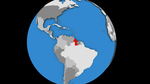 Zooming in on Guyana on political globe Animation
