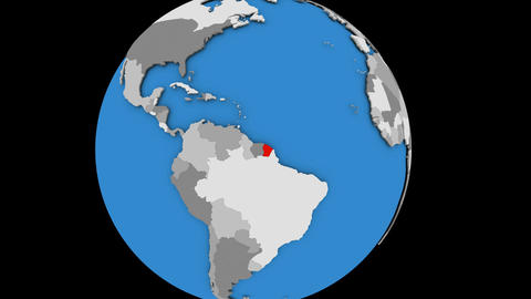 Zooming in on French Guiana on political globe Animation
