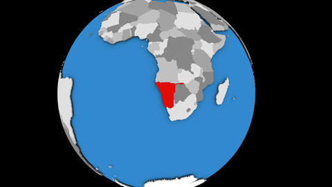 Zooming in on Namibia on political globe Animation