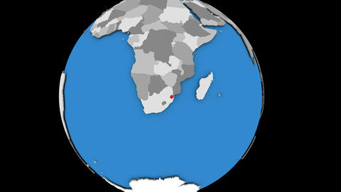 Zooming in on Swaziland on political globe Animation
