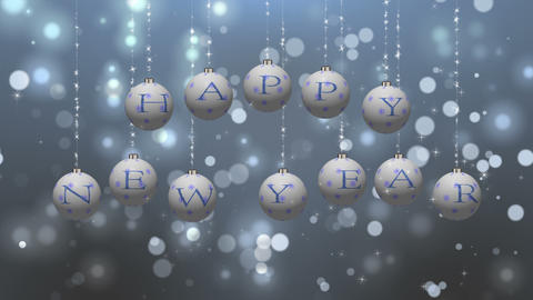 Happy New Year Wishes on White Ornaments Animation