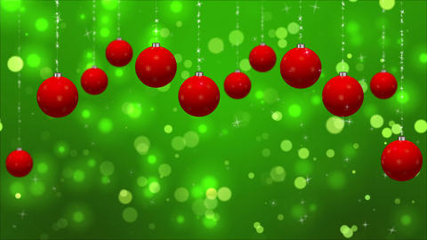 Christmas Classic Red Green background with Ornaments Loop GIF