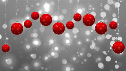 Christmas Holidays Silver Background with Red Globes Loop Animation