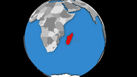 Zooming in on Madagascar on political globe Animation