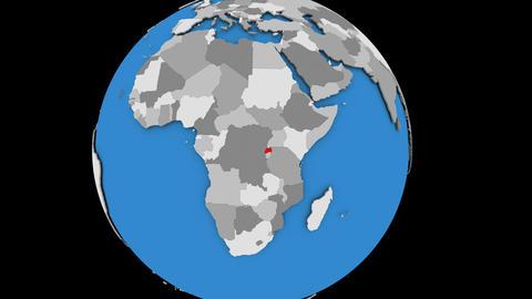 Zooming in on Rwanda on political globe Animation