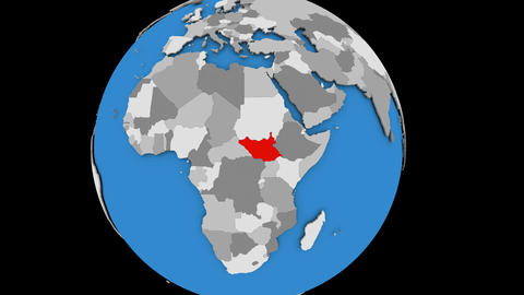 Zooming in on South Sudan on political globe Animation
