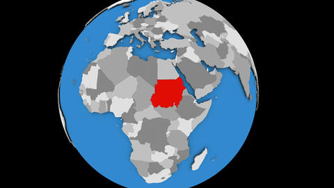 Zooming in on Sudan on political globe Animation