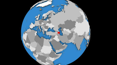 Zooming in on Azerbaijan on political globe Animation