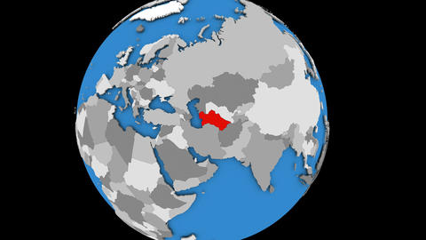 Zooming in on Turkmenistan on political globe Animation