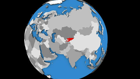 Zooming in on Kyrgyzstan on political globe Animation
