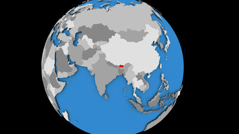 Zooming in on Bhutan on political globe Animation