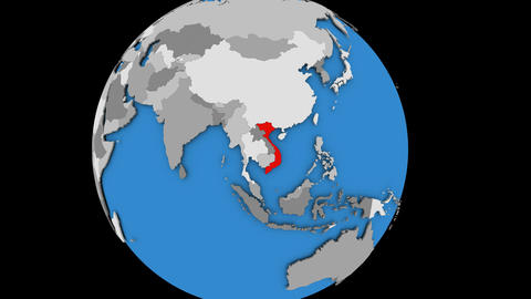 Zooming in on Vietnam on political globe Animation