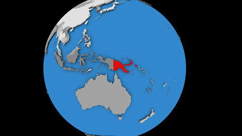 Zooming in on Papua New Guinea on political globe Animation