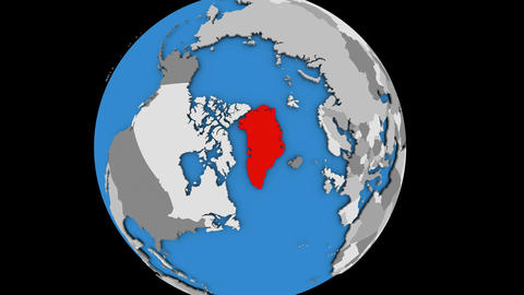Zooming in on Greenland on political globe Animation