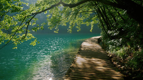 Beautiful path near a blue lake Footage