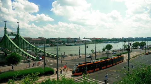 Budapest tram public transport near danube Live Action