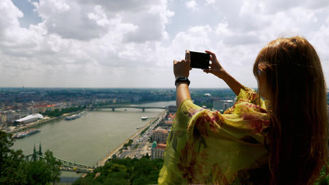 Girl Taking Pictures on the Danube in Budapest Footage