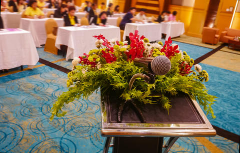 microphone for lecture in conference room フォト
