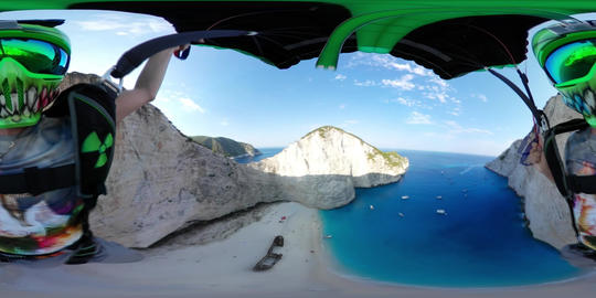 VR 360 BASE Jump in Zakynthos Island - Greece at Shipwreck Beach - 360 VR POV Footage