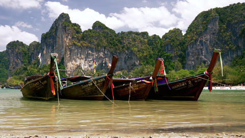 Thailand long tail boats at railay beach Stock Video Footage