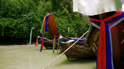Traditional thailand long tail boats, Live Action