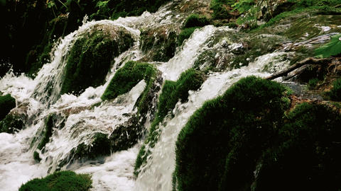 Waterfall on a green moss in slow motion Footage