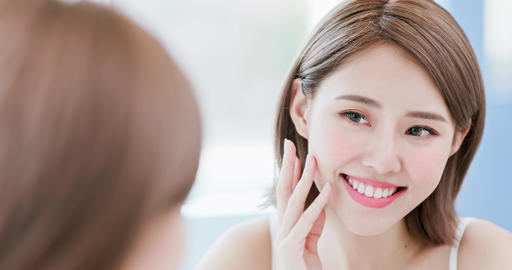 beauty woman touch her face Footage