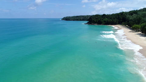 Aerial view of surfing beach in Phuket ,Thailand ビデオ