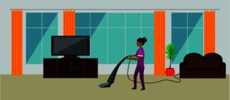 girl cleans the floors Vector