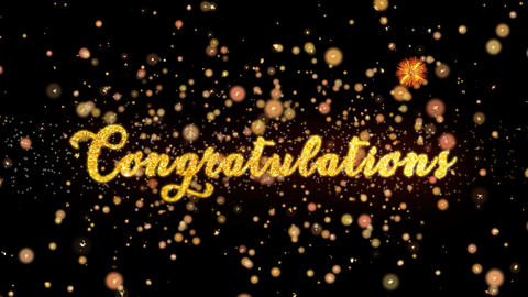 Congratulations Abstract particles and glitter fireworks greeting card Animation