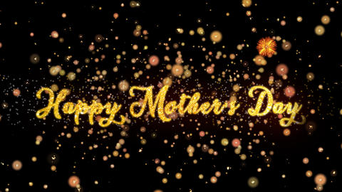 Happy Mother's Day Abstract particles and glitter fireworks greeting card Animation