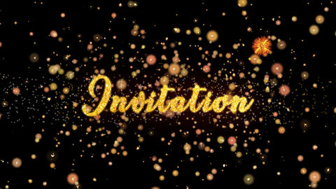 Invitation Abstract particles and glitter fireworks greeting card text Animation