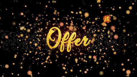 Offer Abstract particles and glitter fireworks greeting card Animation