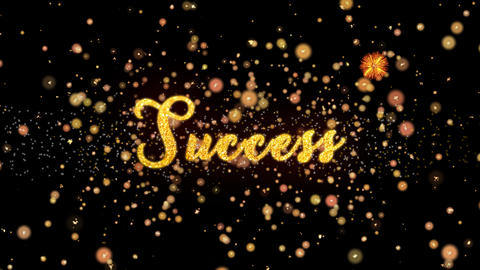 Success Abstract particles and glitter fireworks greeting card Animation