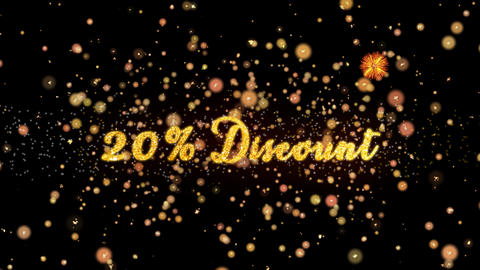 20% Discount Abstract particles and glitter fireworks greeting card Animation