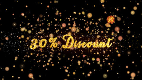30% Discount Abstract particles and glitter fireworks greeting card Animation