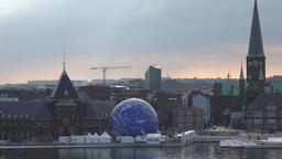 Denmark Scandinavia Aarhus cityscape with earth globe from conservationists GIF