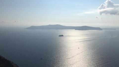 A Ship Near Santorini Island GIF
