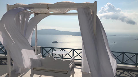 Santorini Balcony Looking To Sea Stock Video Footage