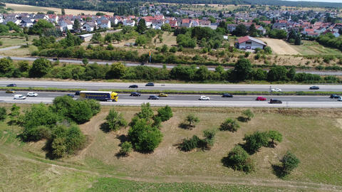 Dense traffic and jam on German highway A3 Footage