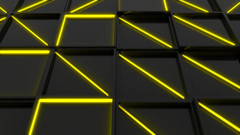 Wall of black rectangle tiles with yellow glowing elements Stock Video Footage