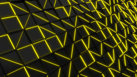 Wall of black rectangle tiles with yellow glowing elements Animation