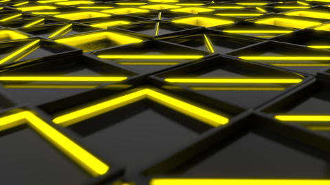 Wall of black rectangle tiles with yellow glowing elements Footage