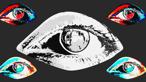 Animation of five multicolored human eyes Animation