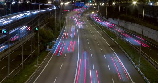Night scene of traffic and roads.Time Lapse 영상물
