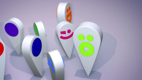 Smiling Emoticon Figures Revolve Cheery Animation