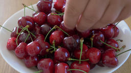 Hands are grabbing sweet cherries from a plate Live Action